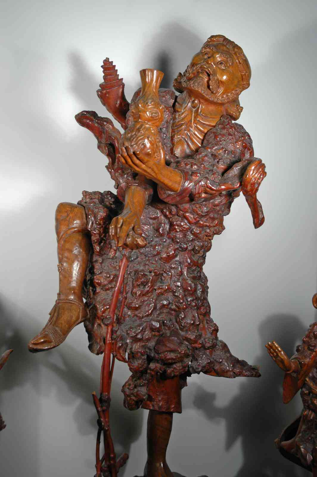 CHINESE WOOD SCULPTURE  TITLED—LI OF THE IRON CRUTCH.  ONE OF THE LEGENDARY EIGHT TAOIST IMMORTALS