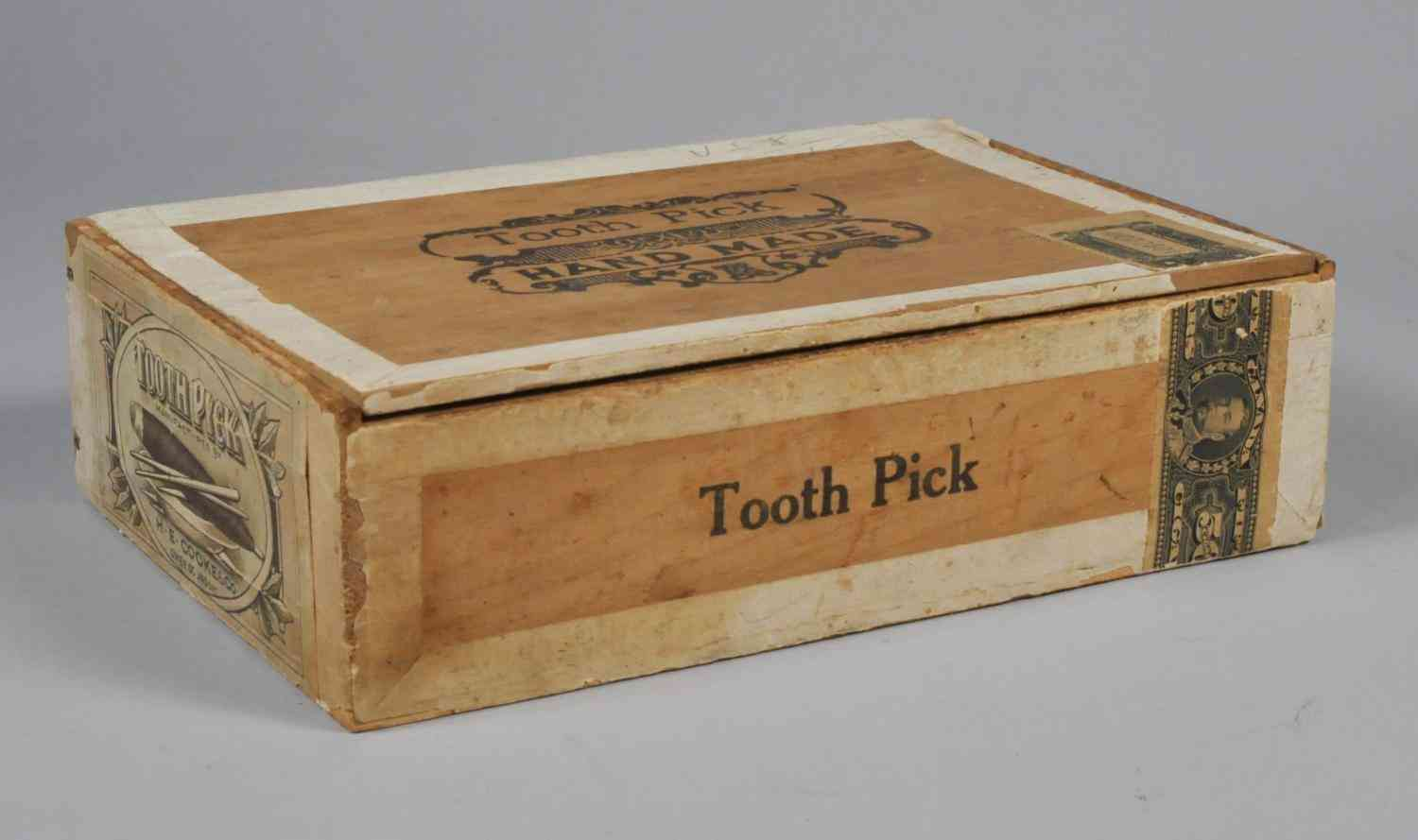 "Images of the ""Tooth Pick"" brand cigar box 1978.058.002 at Grey Roots"