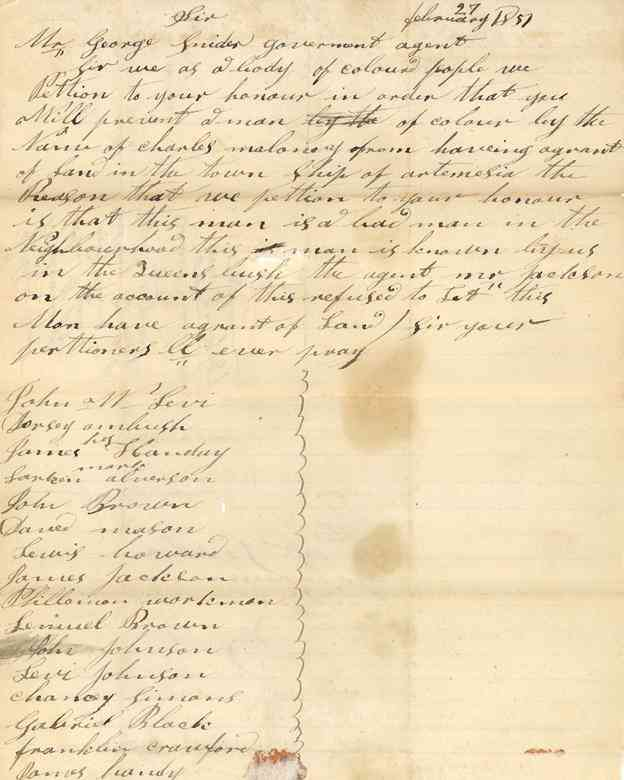 Letter and Petition of John W. Levi and others . Front
