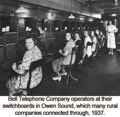 Bell Telephone Company operators at their switchboards in Owen Sound, which many rural companies connected through, 1937