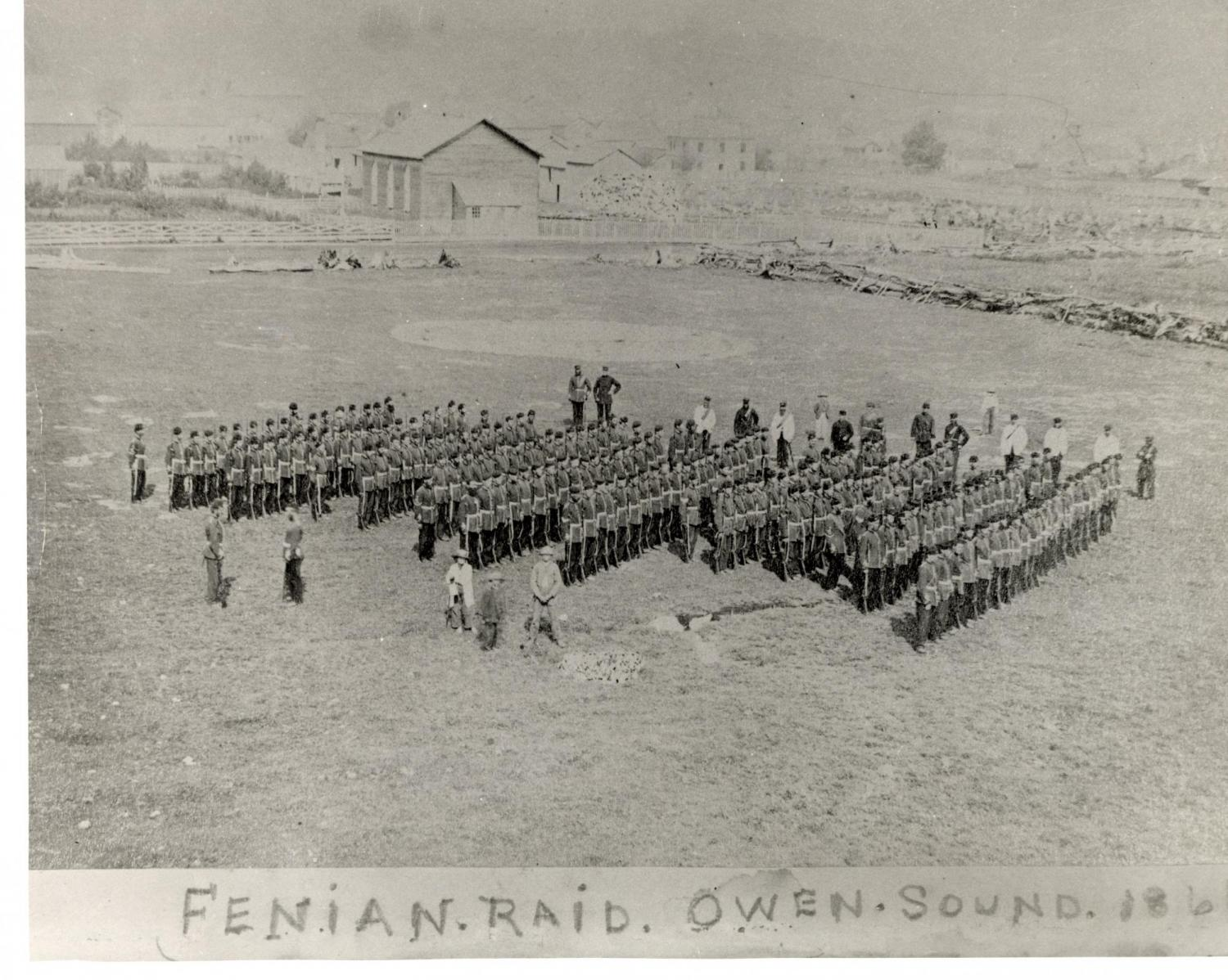 1969.88.8 Troops on parade to counter Fenian Raids, Owen Sound, [1866]