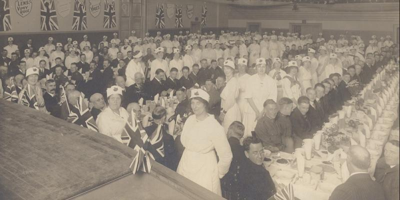 Dinner for Owen Sound veterans returned from WWI c. 1919 AS2011.005.002