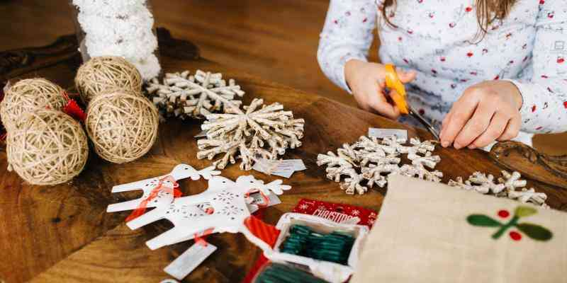 Woman making Holiday Crafts