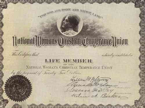 National Woman's Christian Temperance Union Life Member certificate, c. 1890s-1900s