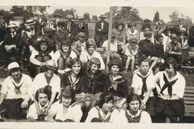 Unidentified girls' baseball team in the stands, 1922 (PF77)