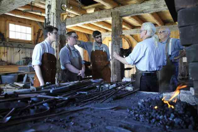 Students and Volunteers in the George Rice Blacksmith Shop at Moreston Heritage Village