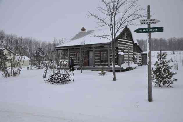 Moreston village with snow