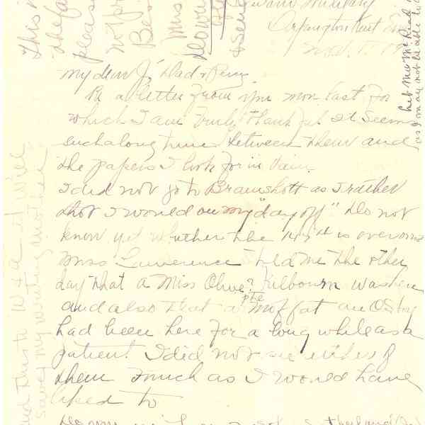 Original Letter from Miss Euphemia Denton to Mrs. Helen Denton (Page 1)