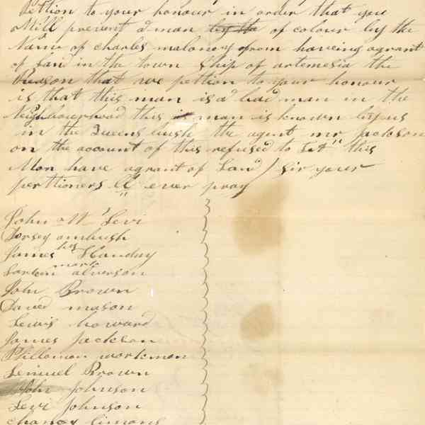 Letter and Petition of John W. Levi and others. Front